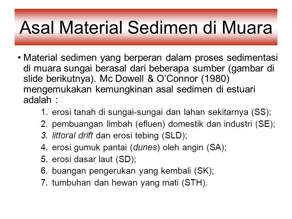 Asal Material Sedimen di Muara Material sedimen yang berperan dalam proses sedimentasi di muara sungai berasal dari beberapa sumber (gambar di slide berikutnya).