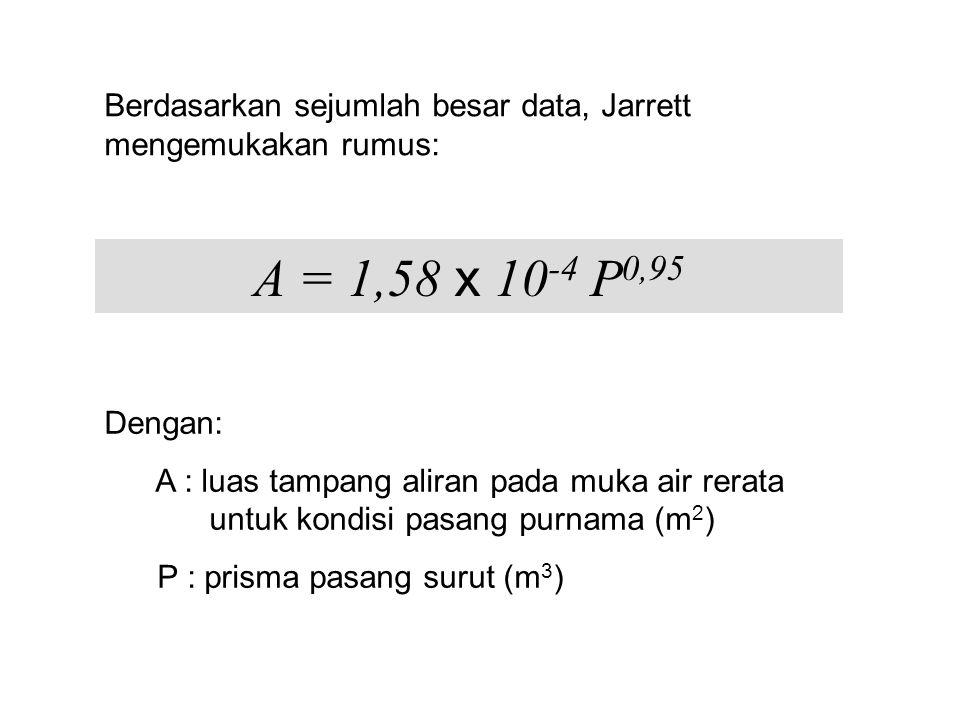 Berdasarkan sejumlah besar data, Jarrett mengemukakan rumus: A = 1,58 x 10 -4 P 0,95 Dengan: A : luas tampang aliran pada muka air rerata untuk kondisi pasang purnama (m 2 ) P : prisma pasang surut (m 3 )