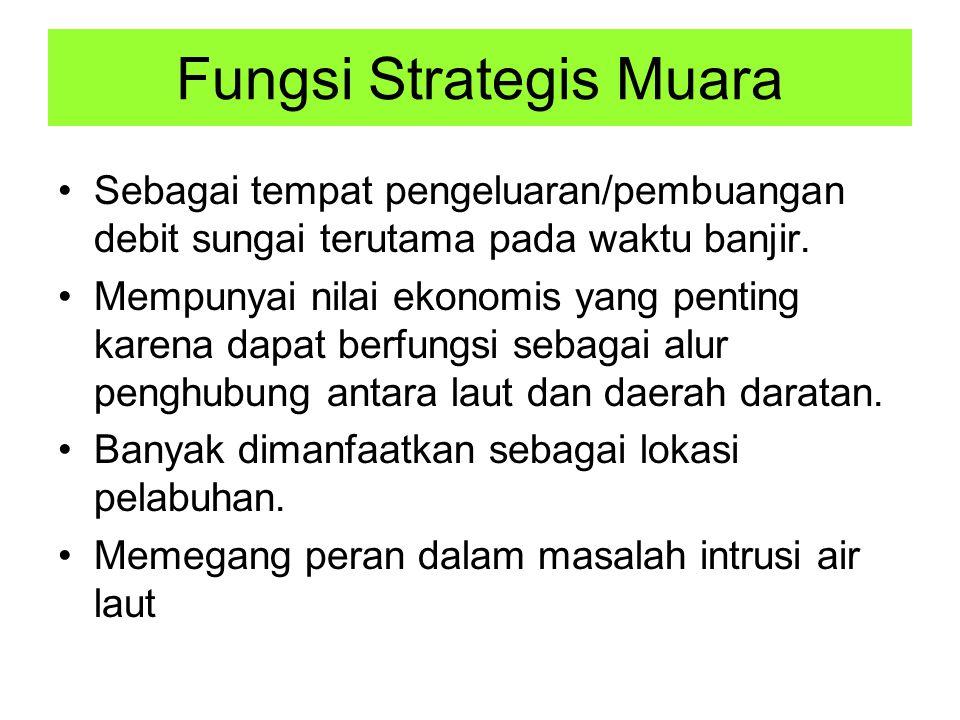Fungsi Strategis Muara Sebagai tempat pengeluaran/pembuangan debit sungai terutama pada waktu banjir.