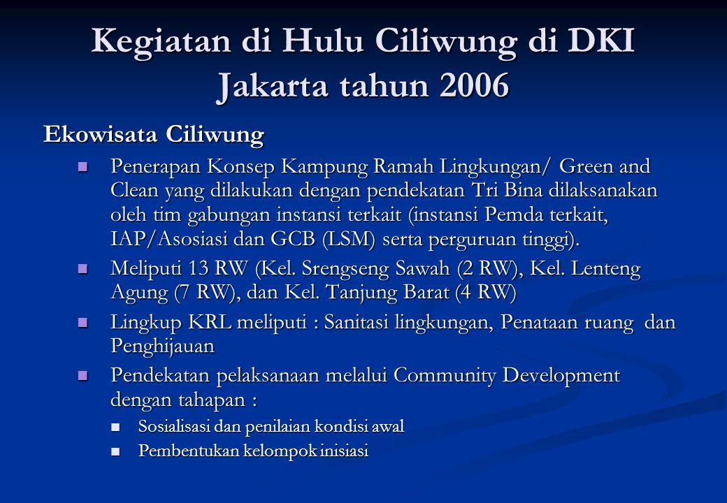 Kegiatan di Hulu Ciliwung di DKI Jakarta tahun 2006 Ekowisata Ciliwung Penerapan Konsep Kampung Ramah Lingkungan/ Green and Clean yang dilakukan denga