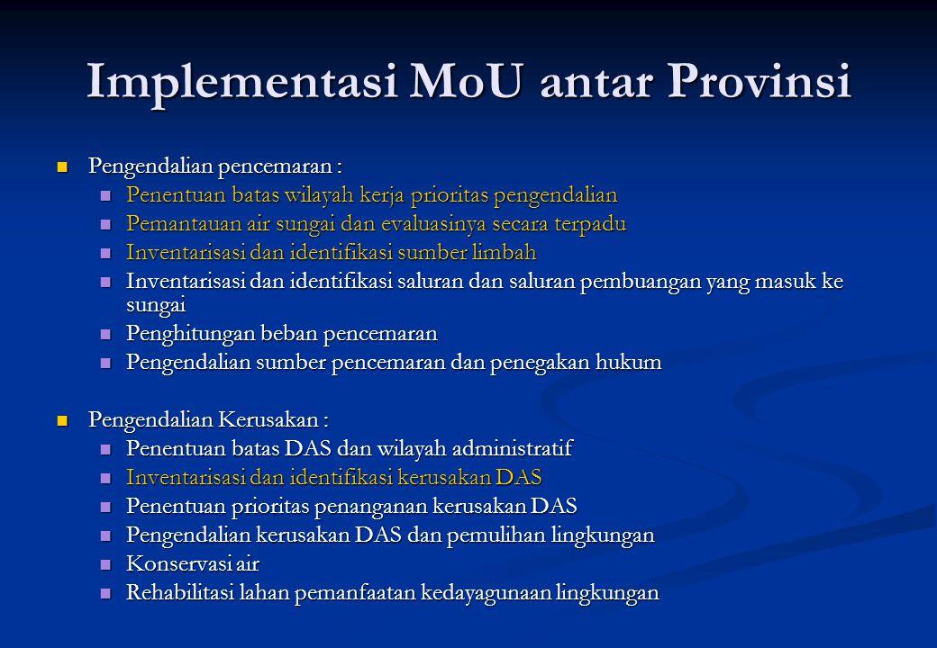 Implementasi MoU antar Provinsi Pengendalian pencemaran : Pengendalian pencemaran : Penentuan batas wilayah kerja prioritas pengendalian Penentuan bat