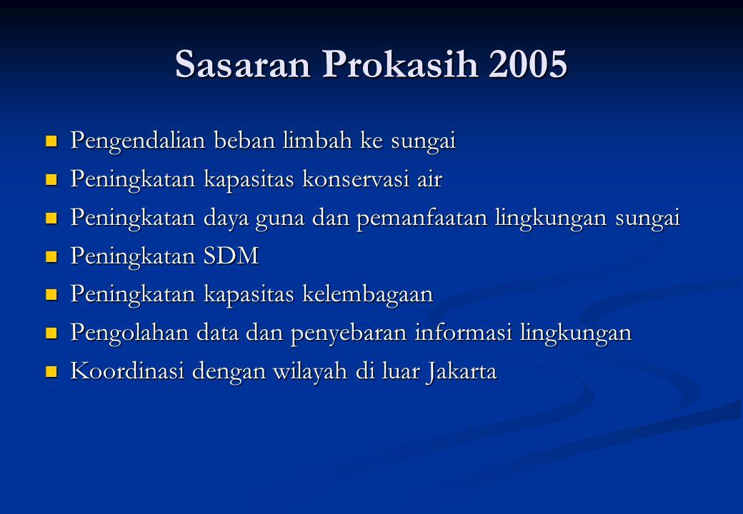 Segmen Hulu /daerah Rural (Low Density) & Hijau ( Kelapa Dua Wetan – Pejaten Timur) Ekowisata Segmen Hilir /daerah urban padat ( Pejaten Timur – PA Manggarai) Penataan/Pembebasan fisik Segmen Hilir-Muara / daerah Urban Mantap ( Manggarai – Muara) Penataan/pemulihan Teluk Jakarta Segmen Ciliwung Golongan B (Air Baku Air Minum) Golongan D (Pertanian dan Usaha Perkotaan) Jakarta Utara Jakarta Barat Jakarta Pusat Jakarta Timur Jakarta Selatan 250 m dari as sungai : daerah terkendali 300 m berikutnya : daerah terkontrol Pelaksanaan