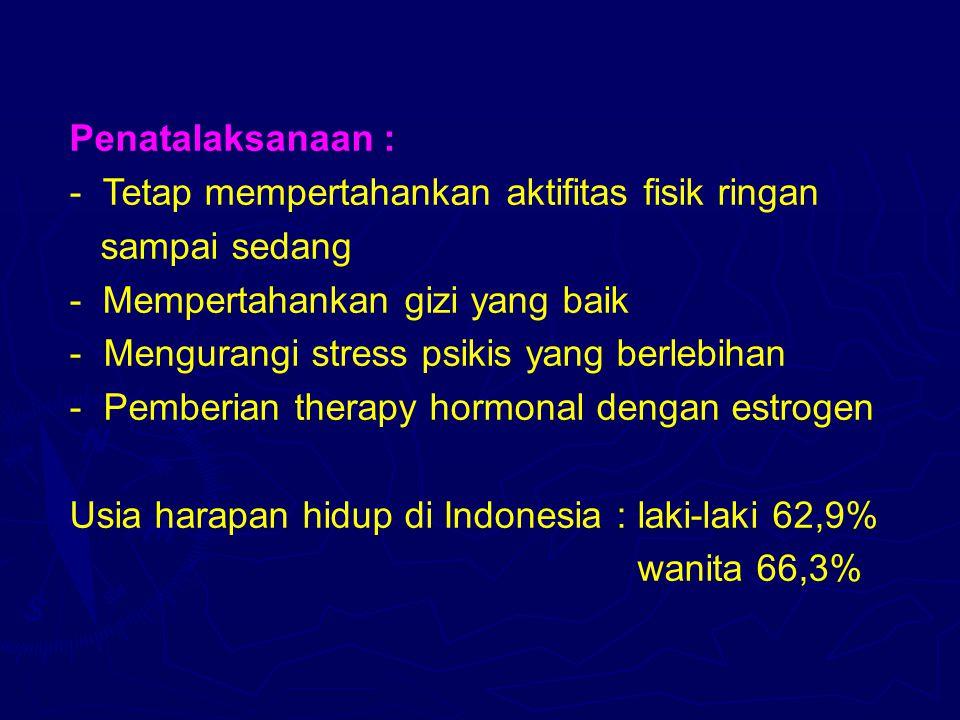 Penatalaksanaan : - Tetap mempertahankan aktifitas fisik ringan sampai sedang - Mempertahankan gizi yang baik - Mengurangi stress psikis yang berlebih