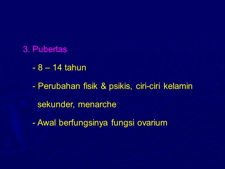 3. Pubertas - 8 – 14 tahun - Perubahan fisik & psikis, ciri-ciri kelamin sekunder, menarche - Awal berfungsinya fungsi ovarium