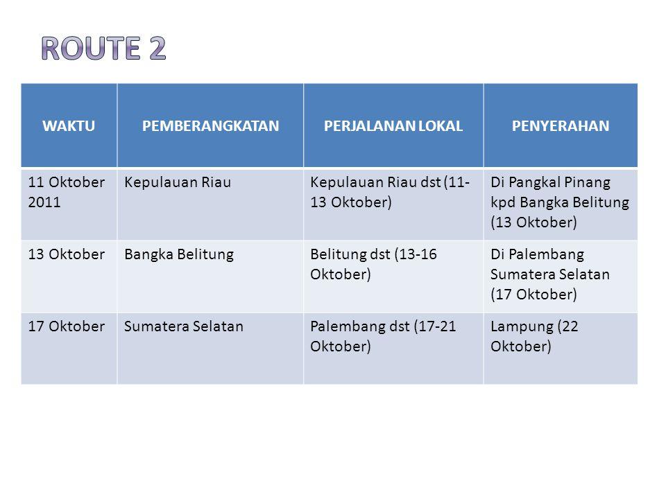 WAKTUPEMBERANGKATANPERJALANAN LOKALPENYERAHAN 11 Oktober 2011 Kepulauan RiauKepulauan Riau dst (11- 13 Oktober) Di Pangkal Pinang kpd Bangka Belitung (13 Oktober) 13 OktoberBangka BelitungBelitung dst (13-16 Oktober) Di Palembang Sumatera Selatan (17 Oktober) 17 OktoberSumatera SelatanPalembang dst (17-21 Oktober) Lampung (22 Oktober)