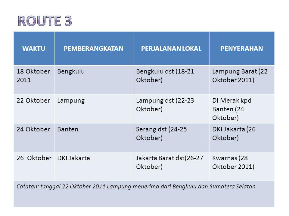 WAKTUPEMBERANGKATANPERJALANAN LOKALPENYERAHAN 18 Oktober 2011 BengkuluBengkulu dst (18-21 Oktober) Lampung Barat (22 Oktober 2011) 22 OktoberLampungLampung dst (22-23 Oktober) Di Merak kpd Banten (24 Oktober) 24 OktoberBantenSerang dst (24-25 Oktober) DKI Jakarta (26 Oktober) 26 OktoberDKI JakartaJakarta Barat dst(26-27 Oktober) Kwarnas (28 Oktober 2011) Catatan: tanggal 22 Oktober 2011 Lampung menerima dari Bengkulu dan Sumatera Selatan