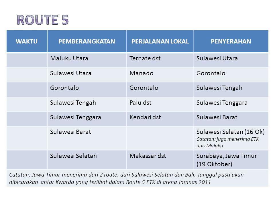 WAKTUPEMBERANGKATANPERJALANAN LOKALPENYERAHAN Maluku UtaraTernate dstSulawesi Utara ManadoGorontalo Sulawesi Tengah Palu dstSulawesi Tenggara Kendari dstSulawesi Barat Sulawesi Selatan (16 Ok) Catatan: juga menerima ETK dari Maluku Sulawesi SelatanMakassar dstSurabaya, Jawa Timur (19 Oktober) Catatan: Jawa Timur menerima dari 2 route: dari Sulawesi Selatan dan Bali.