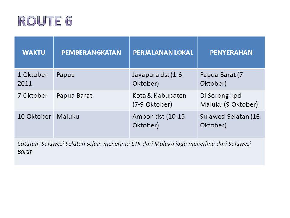WAKTUPEMBERANGKATANPERJALANAN LOKALPENYERAHAN 1 Oktober 2011 PapuaJayapura dst (1-6 Oktober) Papua Barat (7 Oktober) 7 OktoberPapua BaratKota & Kabupaten (7-9 Oktober) Di Sorong kpd Maluku (9 Oktober) 10 OktoberMalukuAmbon dst (10-15 Oktober) Sulawesi Selatan (16 Oktober) Catatan: Sulawesi Selatan selain menerima ETK dari Maluku juga menerima dari Sulawesi Barat