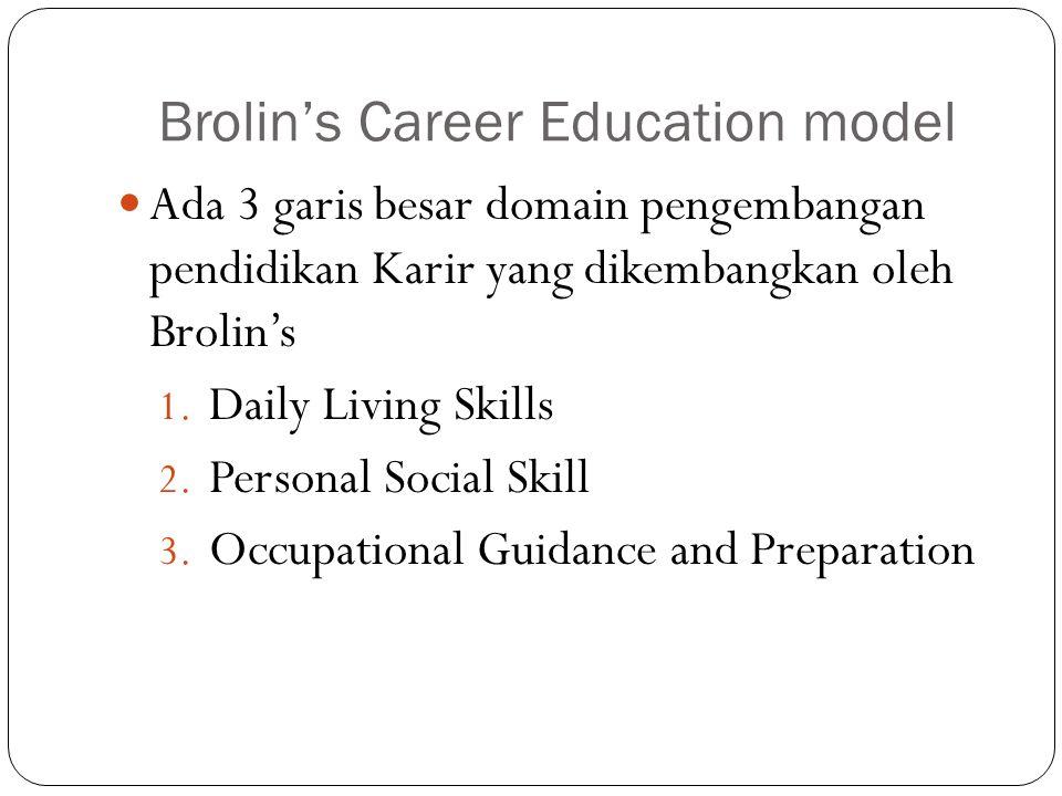 Brolin's Career Education model Ada 3 garis besar domain pengembangan pendidikan Karir yang dikembangkan oleh Brolin's 1.