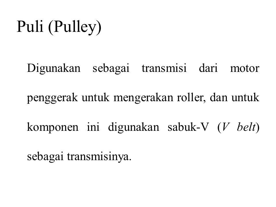 Puli (Pulley) Digunakan sebagai transmisi dari motor penggerak untuk mengerakan roller, dan untuk komponen ini digunakan sabuk-V (V belt) sebagai tran