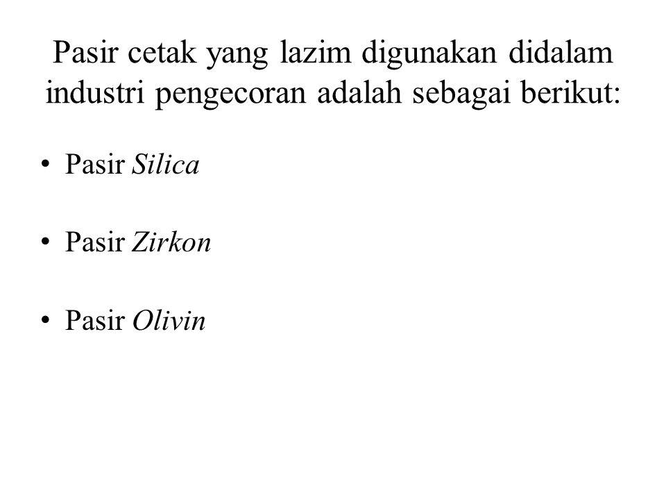 Pasir cetak yang lazim digunakan didalam industri pengecoran adalah sebagai berikut: Pasir Silica Pasir Zirkon Pasir Olivin