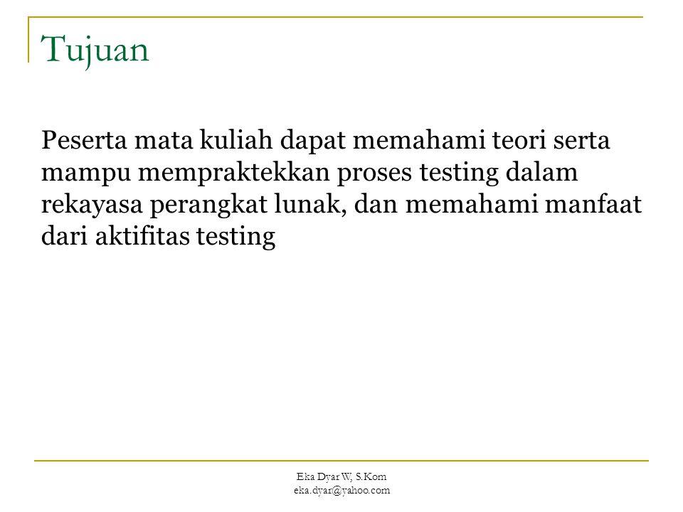 Eka Dyar W, S.Kom eka.dyar@yahoo.com Tujuan Peserta mata kuliah dapat memahami teori serta mampu mempraktekkan proses testing dalam rekayasa perangkat lunak, dan memahami manfaat dari aktifitas testing