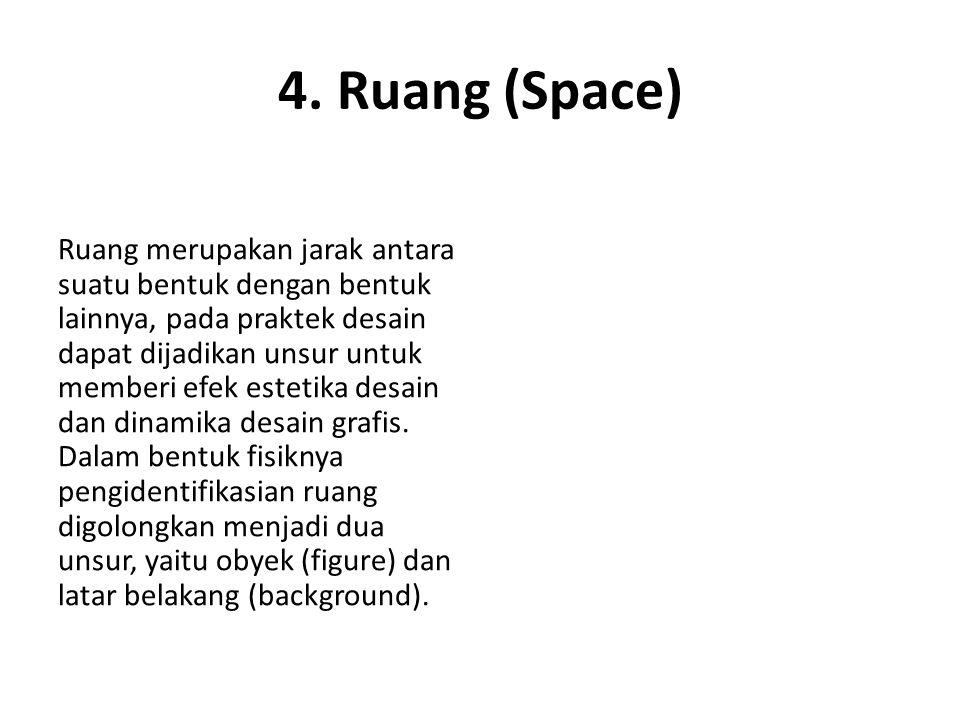 4. Ruang (Space) Ruang merupakan jarak antara suatu bentuk dengan bentuk lainnya, pada praktek desain dapat dijadikan unsur untuk memberi efek estetik
