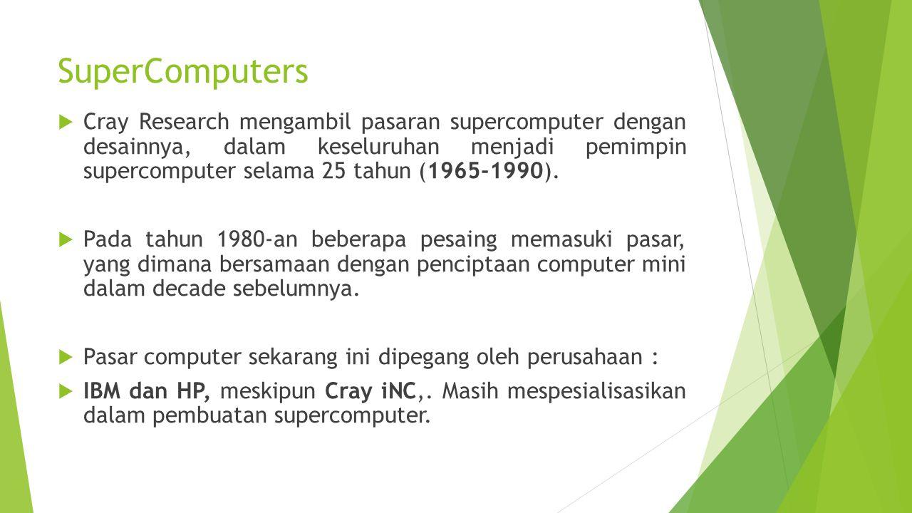 SuperComputers  Cray Research mengambil pasaran supercomputer dengan desainnya, dalam keseluruhan menjadi pemimpin supercomputer selama 25 tahun (196