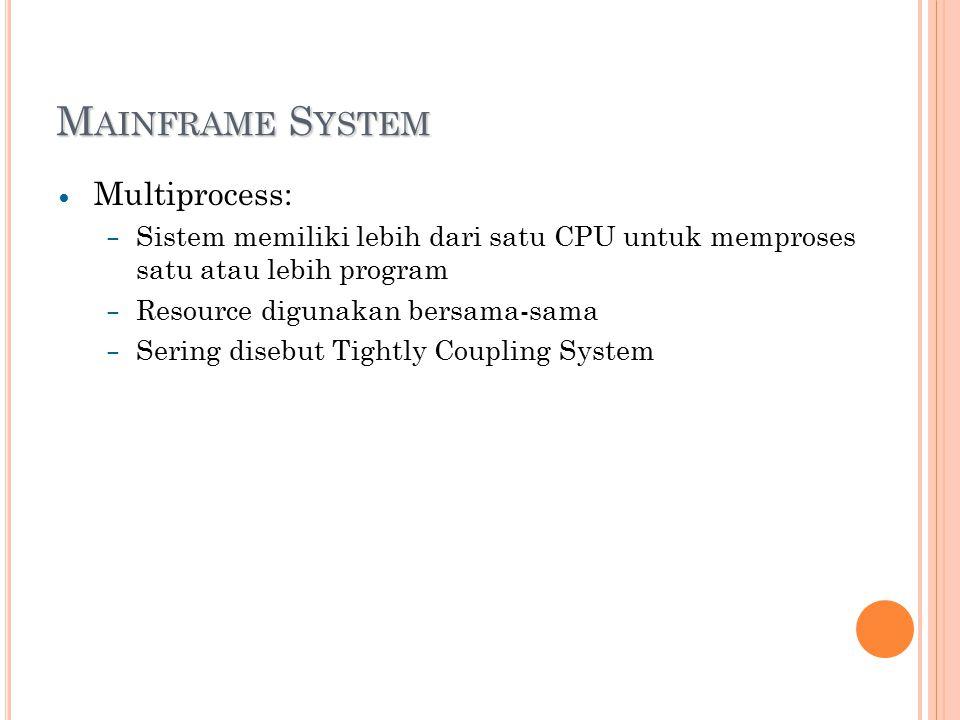 M AINFRAME S YSTEM Multiprocess: – Sistem memiliki lebih dari satu CPU untuk memproses satu atau lebih program – Resource digunakan bersama-sama – Sering disebut Tightly Coupling System