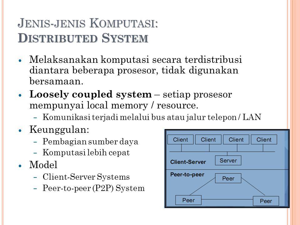 J ENIS - JENIS K OMPUTASI : D ISTRIBUTED S YSTEM Melaksanakan komputasi secara terdistribusi diantara beberapa prosesor, tidak digunakan bersamaan.