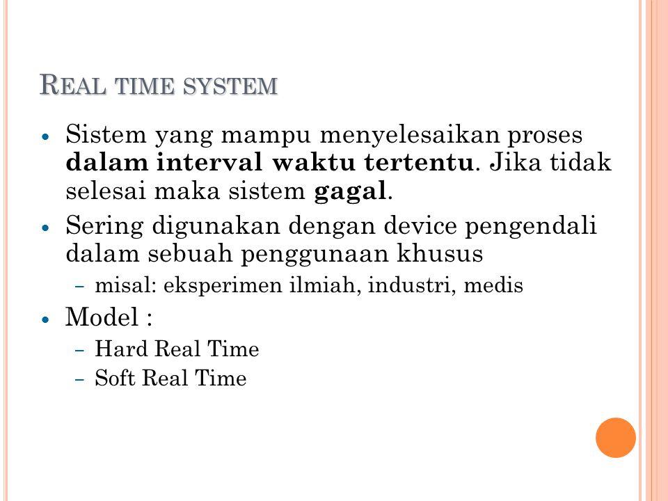 R EAL TIME SYSTEM Sistem yang mampu menyelesaikan proses dalam interval waktu tertentu.
