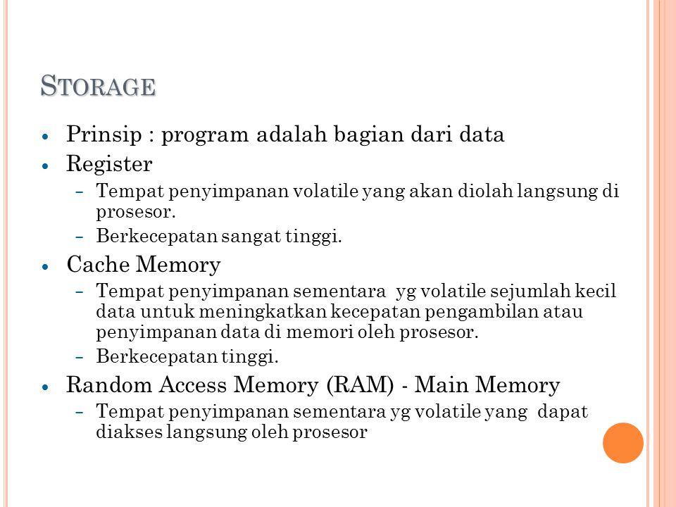 S TORAGE Prinsip : program adalah bagian dari data Register – Tempat penyimpanan volatile yang akan diolah langsung di prosesor.