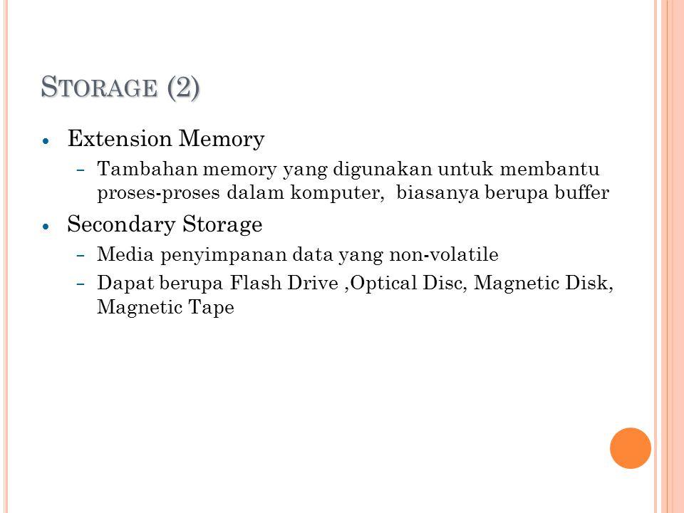 S TORAGE (2) Extension Memory – Tambahan memory yang digunakan untuk membantu proses-proses dalam komputer, biasanya berupa buffer Secondary Storage – Media penyimpanan data yang non-volatile – Dapat berupa Flash Drive,Optical Disc, Magnetic Disk, Magnetic Tape