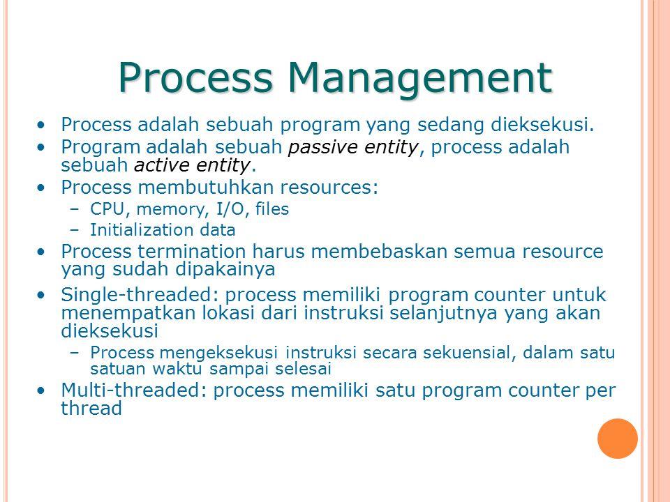 Process Management Process adalah sebuah program yang sedang dieksekusi.