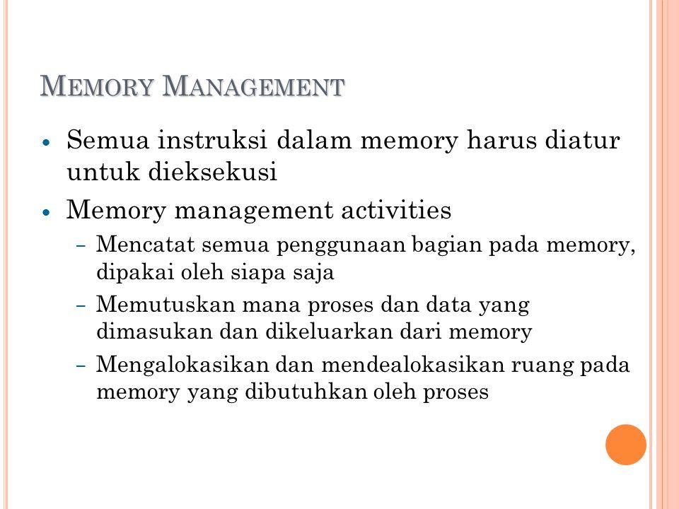 M EMORY M ANAGEMENT Semua instruksi dalam memory harus diatur untuk dieksekusi Memory management activities – Mencatat semua penggunaan bagian pada memory, dipakai oleh siapa saja – Memutuskan mana proses dan data yang dimasukan dan dikeluarkan dari memory – Mengalokasikan dan mendealokasikan ruang pada memory yang dibutuhkan oleh proses