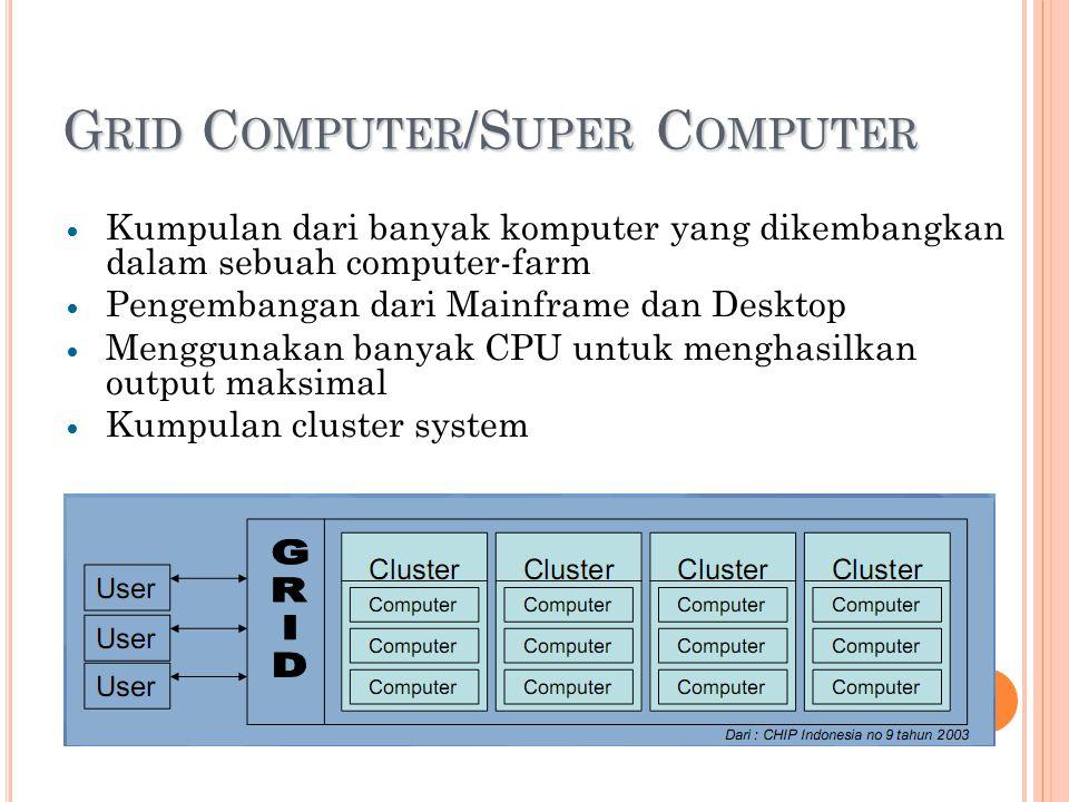 G RID C OMPUTER /S UPER C OMPUTER Kumpulan dari banyak komputer yang dikembangkan dalam sebuah computer-farm Pengembangan dari Mainframe dan Desktop Menggunakan banyak CPU untuk menghasilkan output maksimal Kumpulan cluster system