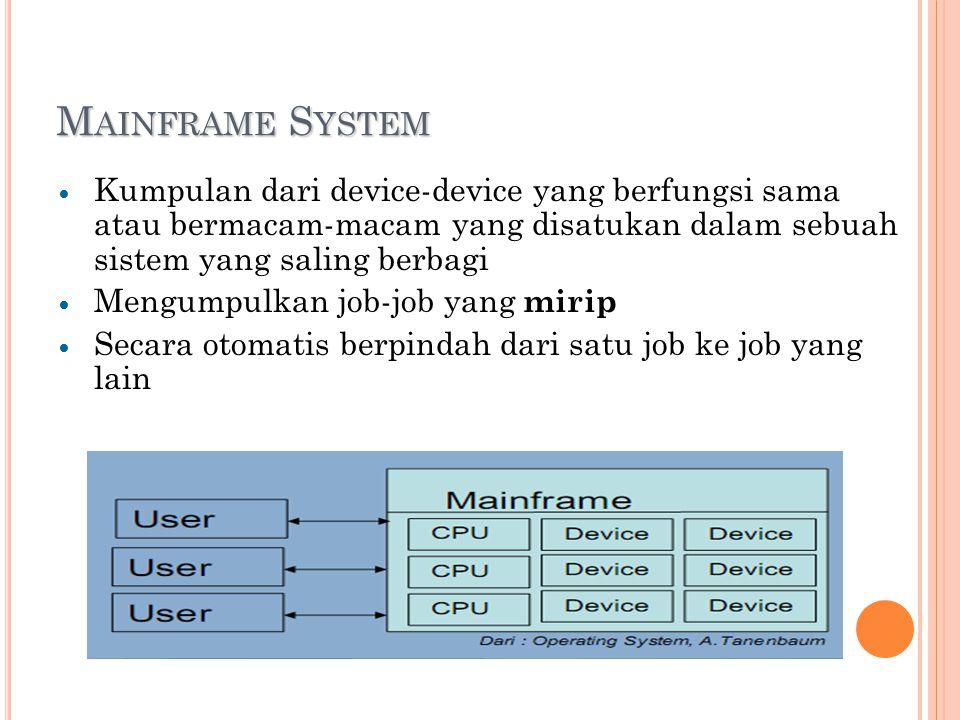 M AINFRAME S YSTEM Kumpulan dari device-device yang berfungsi sama atau bermacam-macam yang disatukan dalam sebuah sistem yang saling berbagi Mengumpulkan job-job yang mirip Secara otomatis berpindah dari satu job ke job yang lain