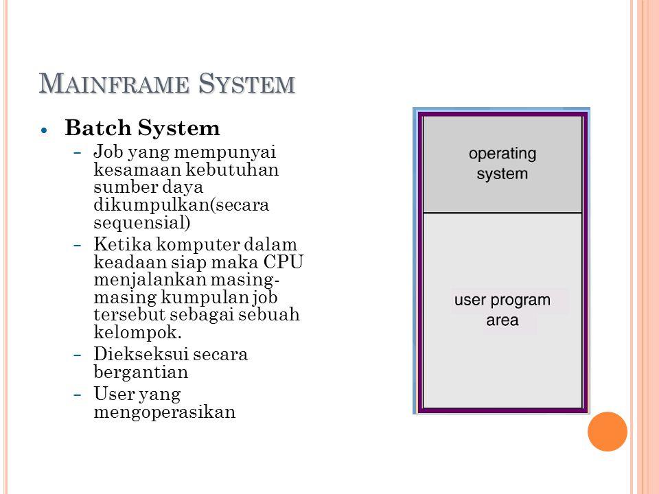 M AINFRAME S YSTEM Batch System – Job yang mempunyai kesamaan kebutuhan sumber daya dikumpulkan(secara sequensial) – Ketika komputer dalam keadaan siap maka CPU menjalankan masing- masing kumpulan job tersebut sebagai sebuah kelompok.