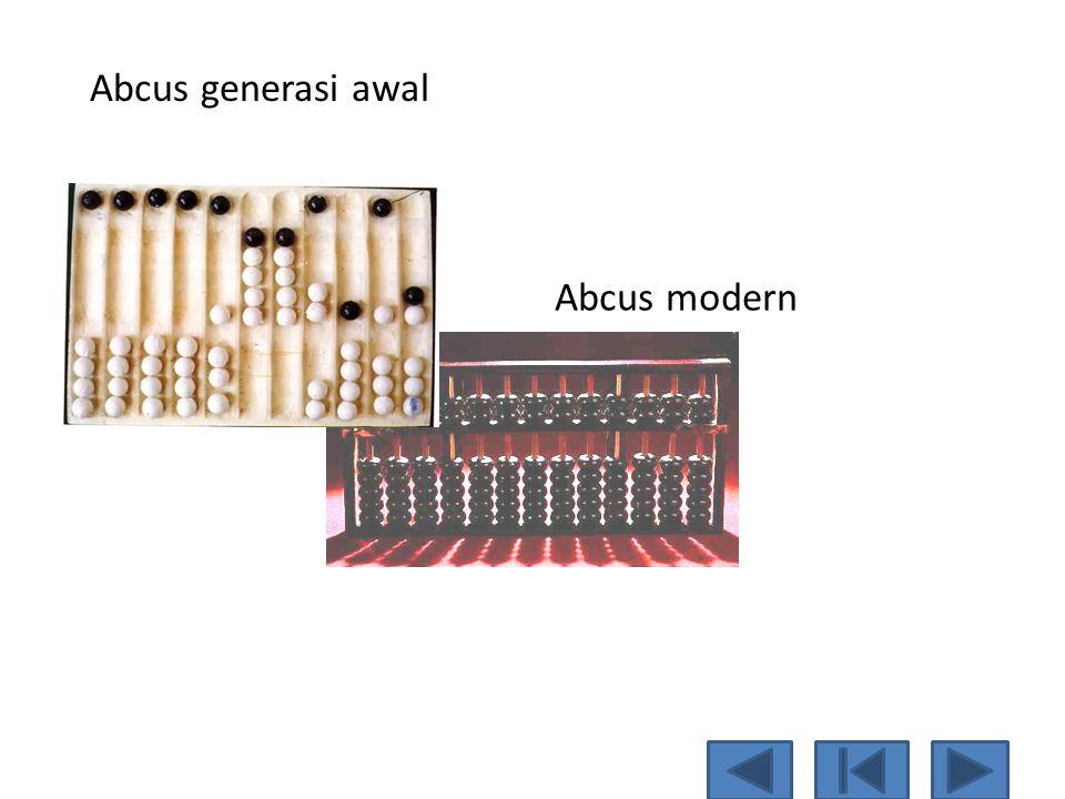 Abacus  Merupakan alat bantu pertama kali yang digunakan untuk perhitungan. Berfungsi membantu daya ingat manusia dalam melakukan perhitungan.  Oran