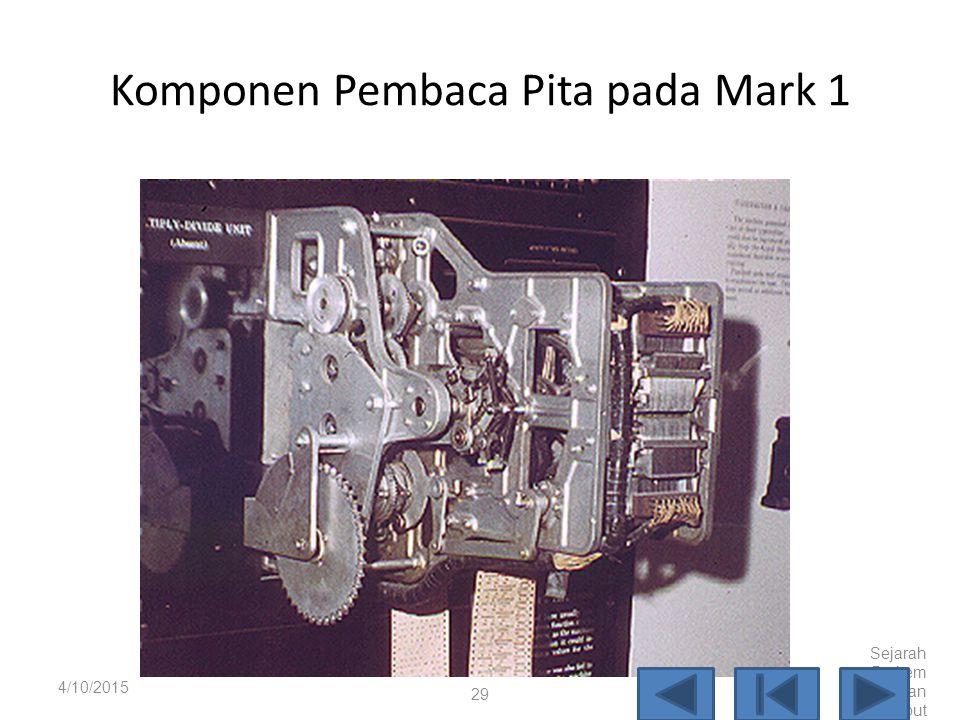 Pusat penggerak pada Mark 1 4/10/2015 Sejarah Perkem bangan Komput er 28