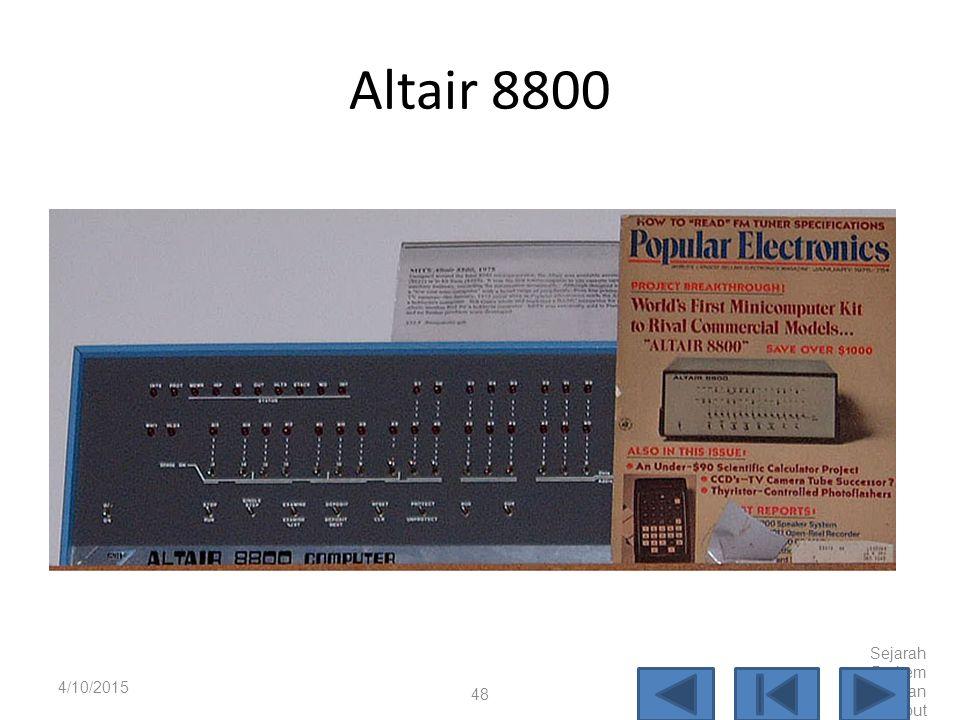 Personal Computer Tahun 1976 mulai muncul komputer skala kecil yang dimaksudkan untuk digunakan oleh satu pengguna yang dikenal dengan Personal Komput