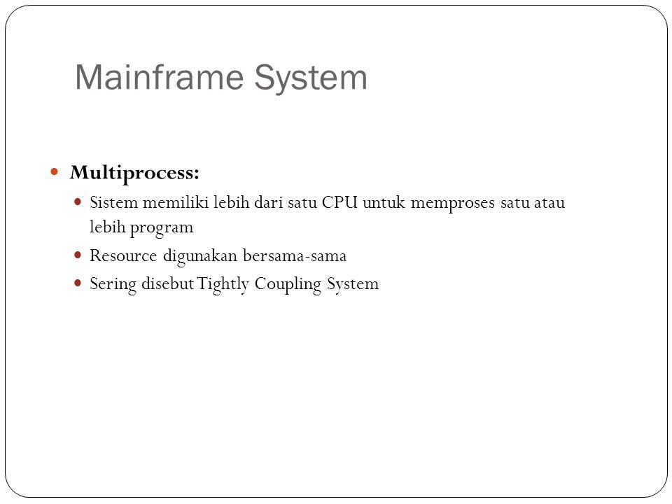 Mainframe System Multiprocess: Sistem memiliki lebih dari satu CPU untuk memproses satu atau lebih program Resource digunakan bersama-sama Sering dise