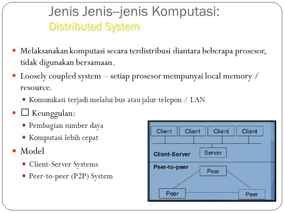 Distributed System Jenis Jenis--jenis Komputasi: Distributed System Melaksanakan komputasi secara terdistribusi diantara beberapa prosesor, tidak digu