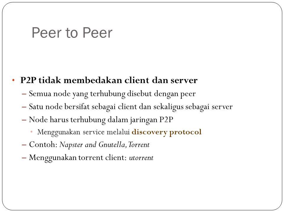 Peer to Peer P2P tidak membedakan client dan server – Semua node yang terhubung disebut dengan peer – Satu node bersifat sebagai client dan sekaligus