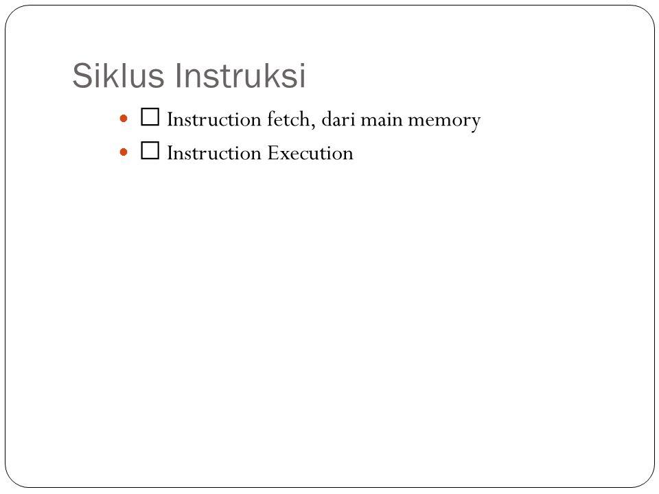Siklus Instruksi Instruction fetch, dari main memory Instruction Execution