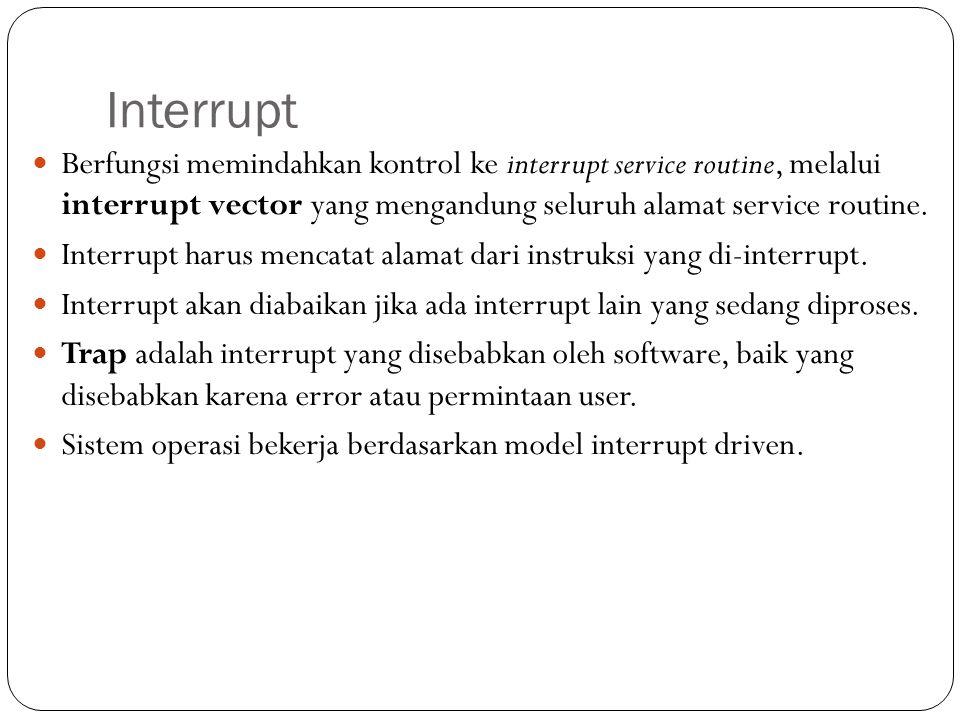 Interrupt Berfungsi memindahkan kontrol ke interrupt service routine, melalui interrupt vector yang mengandung seluruh alamat service routine. Interru