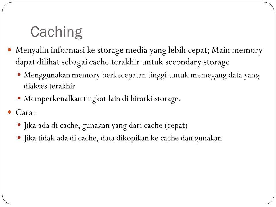 Caching Menyalin informasi ke storage media yang lebih cepat; Main memory dapat dilihat sebagai cache terakhir untuk secondary storage Menggunakan mem
