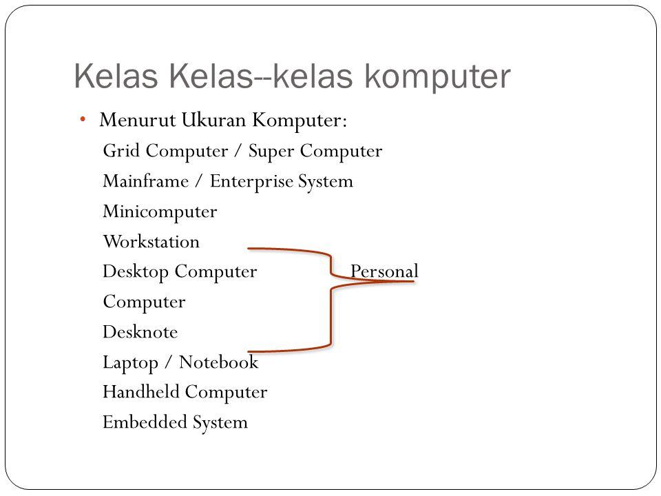 Kelas Kelas--kelas komputer Menurut Ukuran Komputer: Grid Computer / Super Computer Mainframe / Enterprise System Minicomputer Workstation Desktop Com
