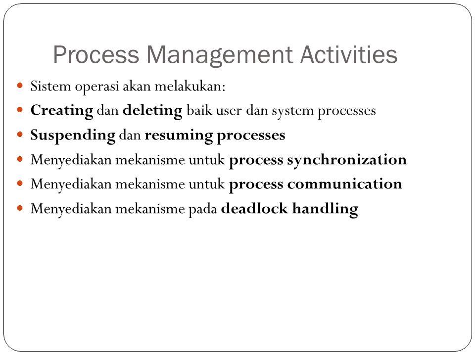 Process Management Activities Sistem operasi akan melakukan: Creating dan deleting baik user dan system processes Suspending dan resuming processes Me