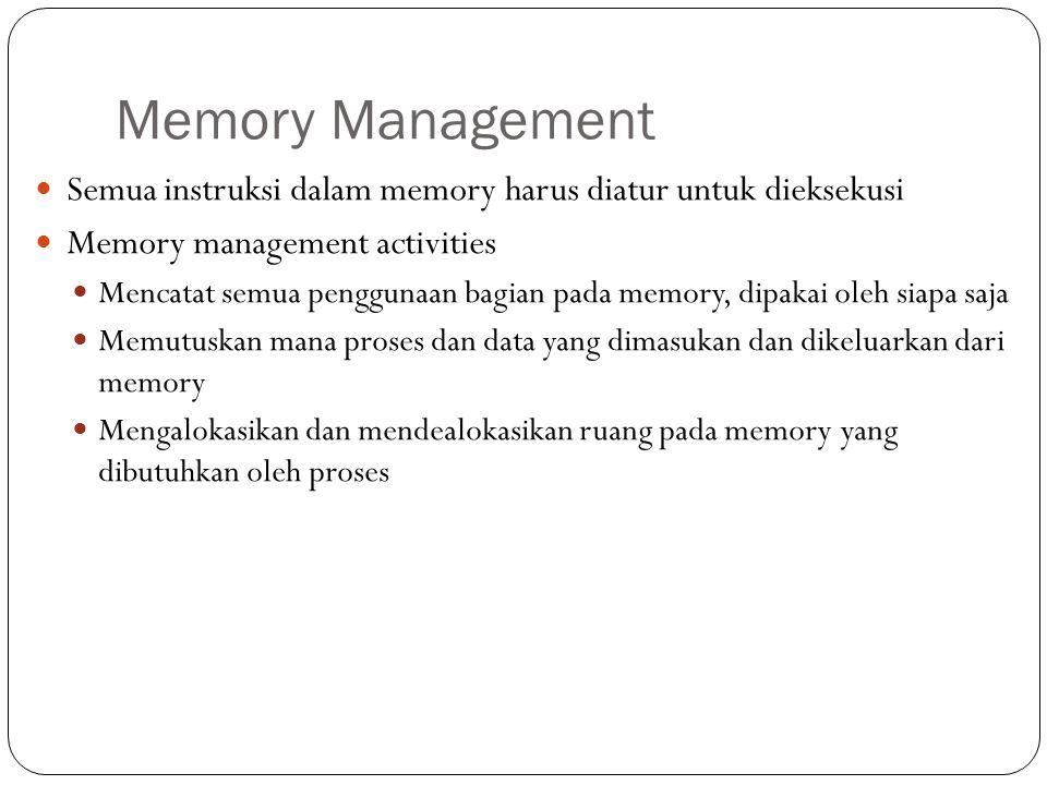 Memory Management Semua instruksi dalam memory harus diatur untuk dieksekusi Memory management activities Mencatat semua penggunaan bagian pada memory