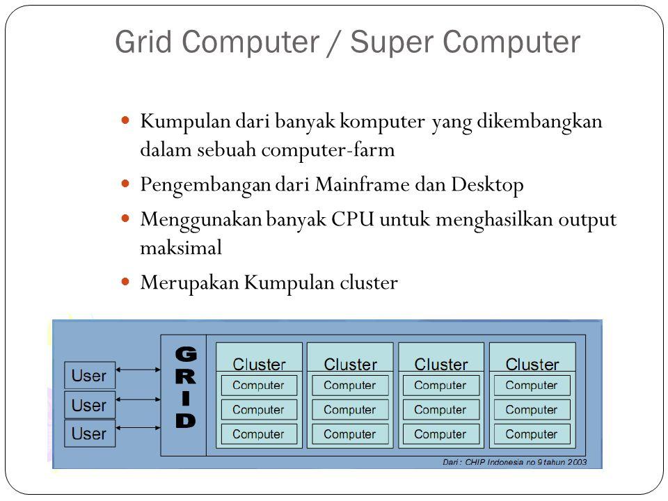 Grid Computer / Super Computer Kumpulan dari banyak komputer yang dikembangkan dalam sebuah computer-farm Pengembangan dari Mainframe dan Desktop Meng