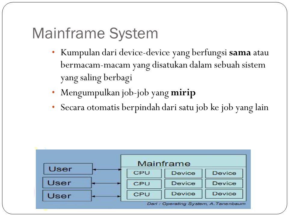 Mainframe System Kumpulan dari device-device yang berfungsi sama atau bermacam-macam yang disatukan dalam sebuah sistem yang saling berbagi Mengumpulk