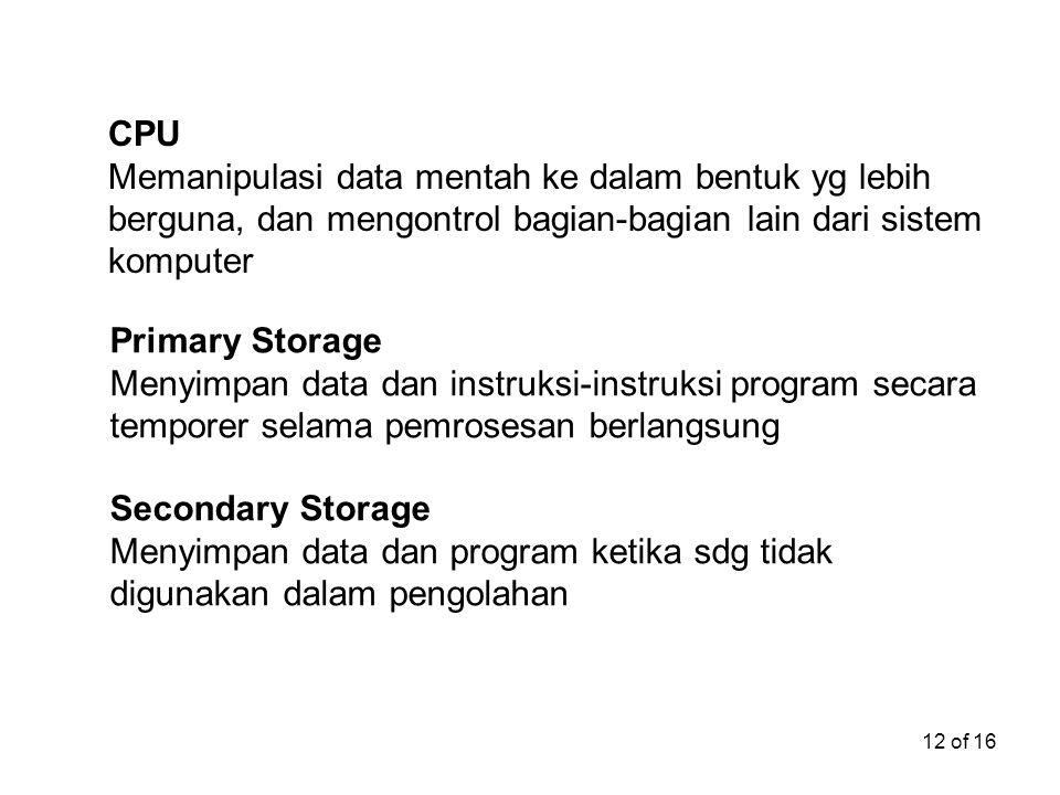 12 of 16 CPU Memanipulasi data mentah ke dalam bentuk yg lebih berguna, dan mengontrol bagian-bagian lain dari sistem komputer Primary Storage Menyimp