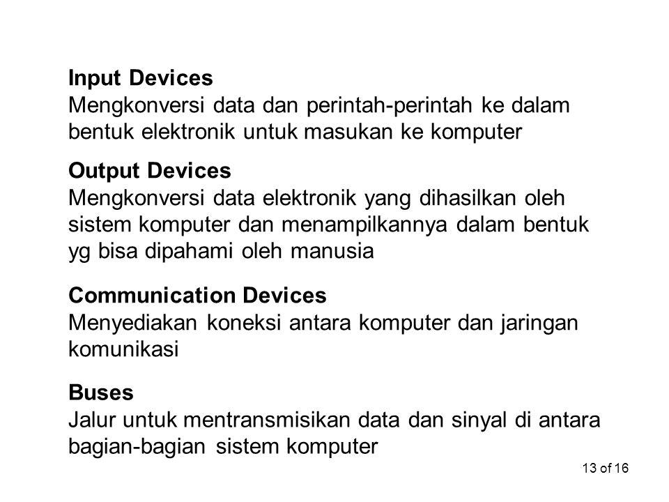 13 of 16 Input Devices Mengkonversi data dan perintah-perintah ke dalam bentuk elektronik untuk masukan ke komputer Output Devices Mengkonversi data e