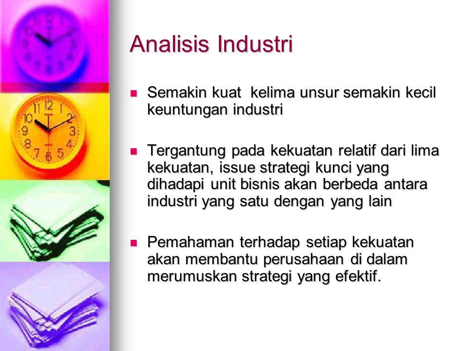 Analisis Industri Semakin kuat kelima unsur semakin kecil keuntungan industri Semakin kuat kelima unsur semakin kecil keuntungan industri Tergantung p