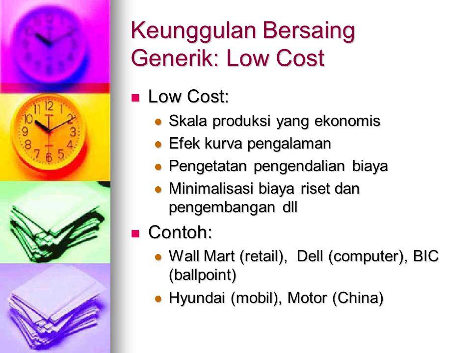 Keunggulan Bersaing Generik: Low Cost Low Cost: Low Cost: Skala produksi yang ekonomis Skala produksi yang ekonomis Efek kurva pengalaman Efek kurva p