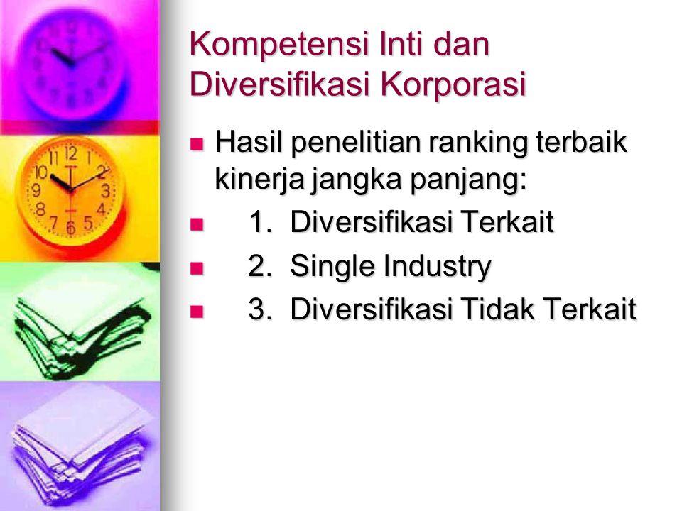 Kompetensi Inti dan Diversifikasi Korporasi Hasil penelitian ranking terbaik kinerja jangka panjang: Hasil penelitian ranking terbaik kinerja jangka panjang: 1.