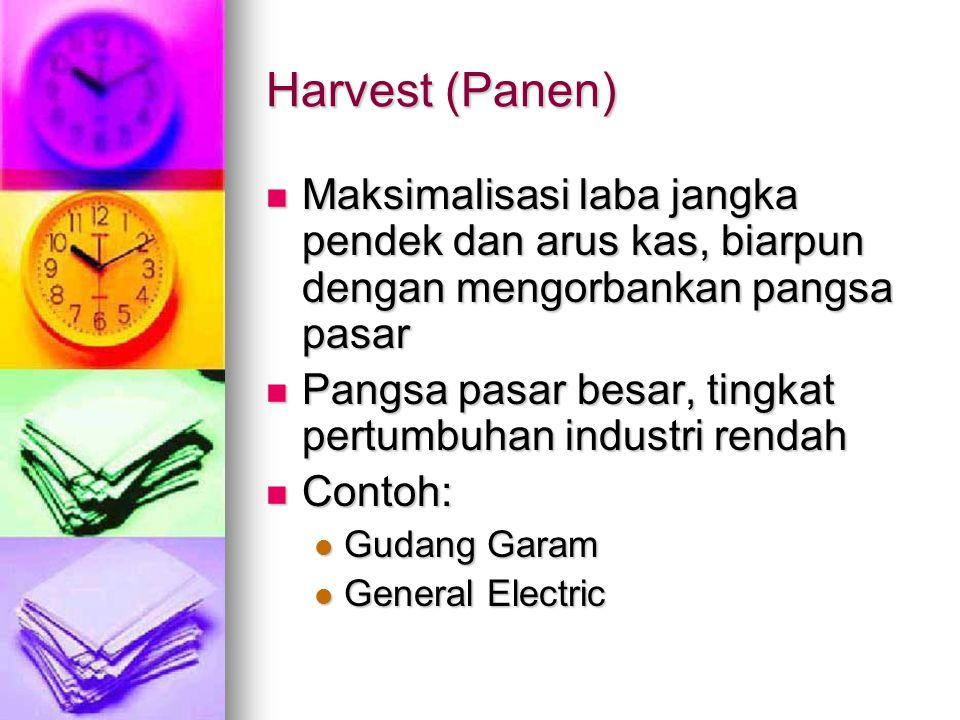Harvest (Panen) Maksimalisasi laba jangka pendek dan arus kas, biarpun dengan mengorbankan pangsa pasar Maksimalisasi laba jangka pendek dan arus kas,