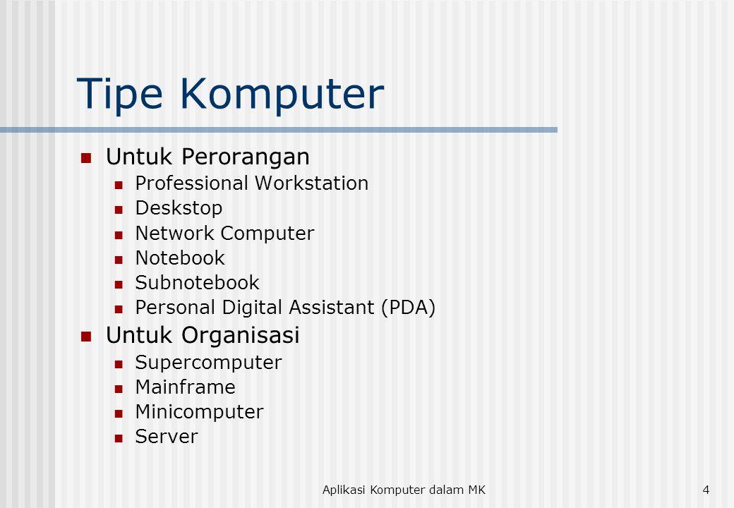 Aplikasi Komputer dalam MK4 Tipe Komputer Untuk Perorangan Professional Workstation Deskstop Network Computer Notebook Subnotebook Personal Digital As