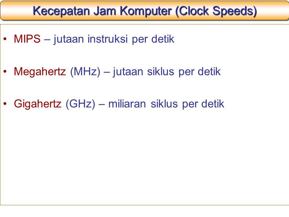 Kecepatan Jam Komputer (Clock Speeds) MIPS – jutaan instruksi per detik Megahertz (MHz) – jutaan siklus per detik Gigahertz (GHz) – miliaran siklus pe